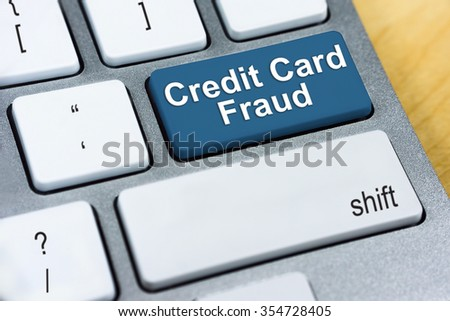 Written word Credit Card Fraud on red keyboard button. Online Protection and Internet Security Concept. - stock photo
