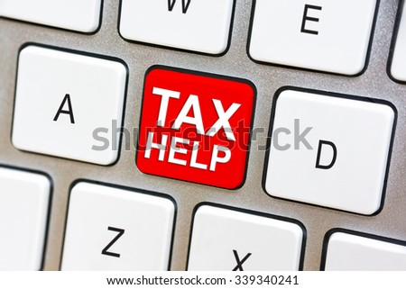 Written word Tax Help on red keyboard button
