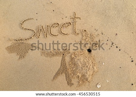 "written words ""Sweet"" on sand of beach"