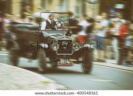 Wroclaw- August 18:Ford 1924 on Motoclassic show in vintage effect, motion blur in Wroclaw, Poland on August 18, 2014. - stock photo
