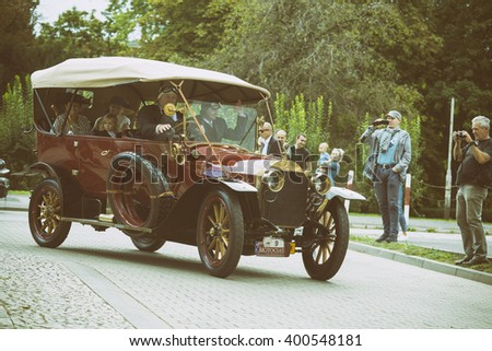 Wroclaw- August 18: Old Time Mercedes on Motoclassic show in vintage effect  in Wroclaw, Poland on August 18, 2014. - stock photo