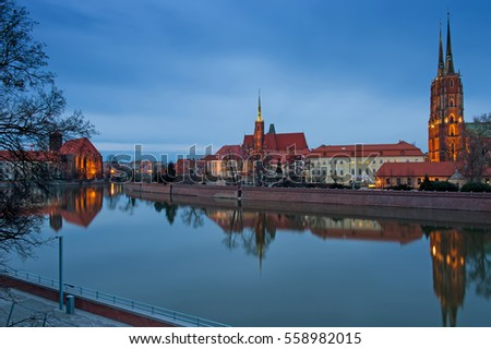 wroclaw cathedral, old polish city, night view. Eastern Europe