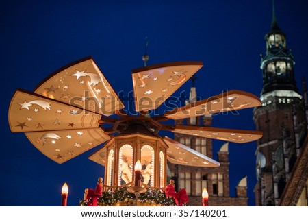 Wroclaw christmas market in poland - stock photo