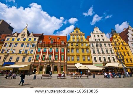 Wroclaw City center, Market Square tenements - stock photo