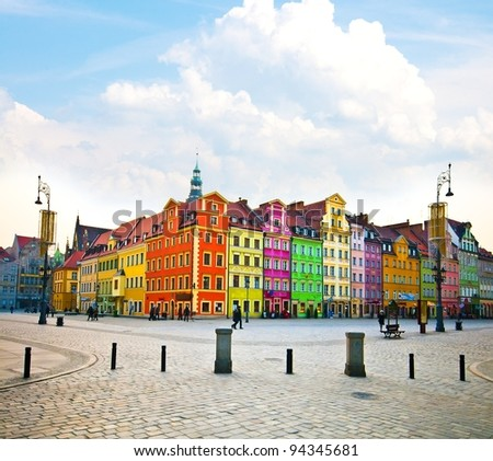 Wroclaw City center, Market Square tenements and City Hall - stock photo