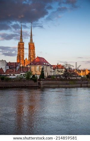 wroclaw city during sunset time - stock photo