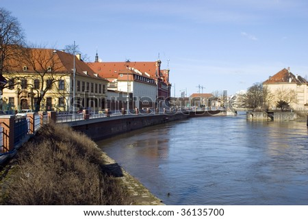 Wroclaw cityscape with Odra river and university buildings, famous city in Poland.