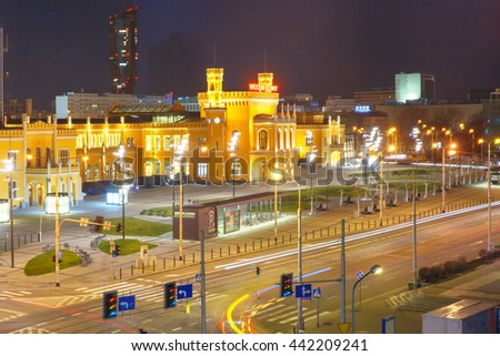 Wroclaw Main Railway Station at night in Wroclaw, Poland