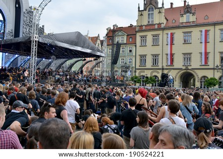 "WROCLAW - MAY 1:  The fans of guitar music will gather together to play  Hey Joe  at the ""Annual Thanks Jimi Guitar Festival"", they beat the Guinness World Record in Wroclaw, Poland on May 1, 2014."