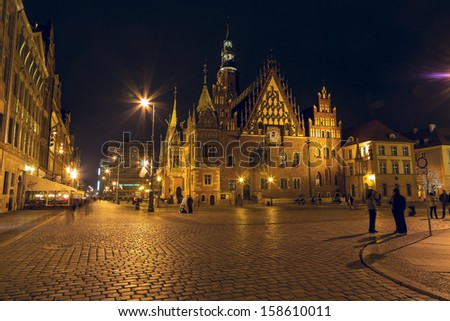WROCLAW - OCTOBER 06: Old Town Hall, the late-Gothic building was built by over 250 years from end of the XIII up to the XVI century, nowadays City Museum in Wroclaw in Poland on October 06, 2013