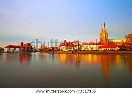 Wroclaw old city panorama - stock photo