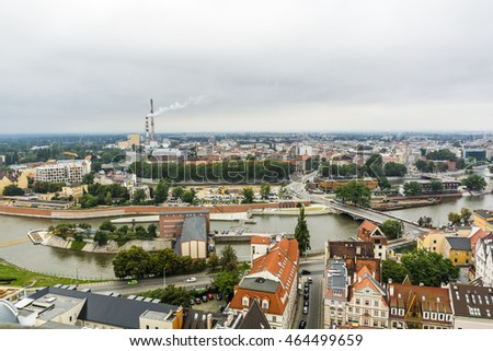 Wroclaw, Poland - August  05, 2016: City of Wroclaw on a cloudy day as seen from the tower.