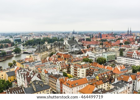 Wroclaw, Poland - August  05, 2016: Panorama Wroclaw on a cloudy day as seen from the tower.