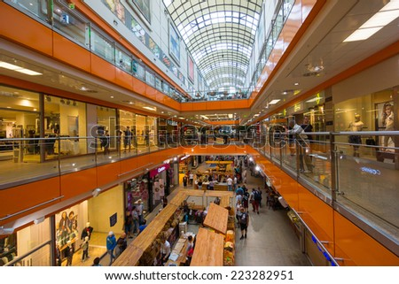 WROCLAW, POLAND - AUGUST 21: People visit mall Galeria Dominikanska on August 21, 2014 in Wroclaw, Poland