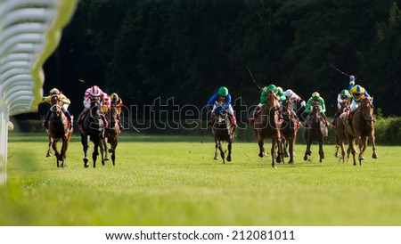 WROCLAW, POLAND - AUGUST 10; 2014: The race for - three year old horse for the Prize Lira (Oaks) in a Racecourse WTWK Partynice. - stock photo