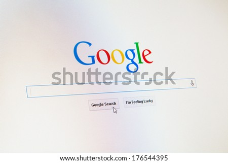 WROCLAW, POLAND - JANUARY 10, 2014: Google.com homepage with a cursor on the search button - stock photo