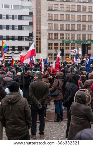 WROCLAW, POLAND - JANUARY 23, 2016: The demonstration of the Committee of the Defence of the Democracy KOD for free media /wolne media/ and democracy against PIS government. Wroclaw , Poland - stock photo