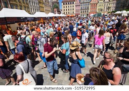 "Wroclaw, Poland - Jun 06, 2015: ""Europe on the Fork"" event. Polish name is ""Europa na Widelcu"". The idea for this festivities on the Market Square of Wroclaw is to show from European kitchens."