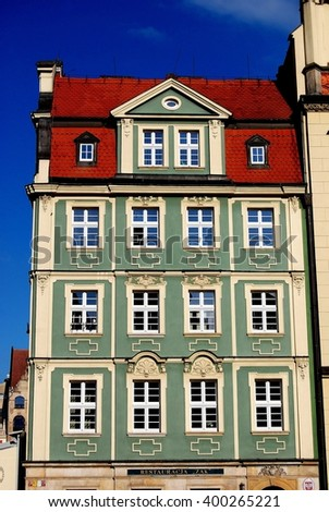 "Wroclaw, Poland - June 13, 2010:  17th century baroque house houses the ""Zak"" Restaurant in the Rynek market square"