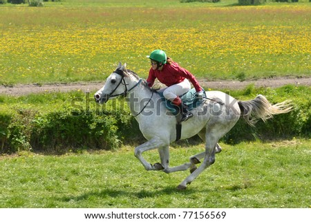 WROCLAW, POLAND - MAY 08: A. Stasiak on a horse Zlotlin finish in a Racecourse Partynice on May 08, 2011 in Wroclaw, Poland. - stock photo