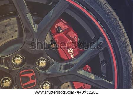 Wroclaw, Poland, May 28, 2016: Close up on Honda Civic Type Rbreaks in wheel on Motoshow on May 28, 2016 in Poland