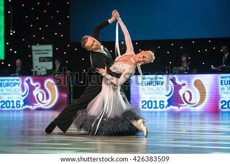 Wroclaw, Poland - May 14, 2016: Evaldas Sodeika and Ieva Zukauskaite in dance pose during World Dance Sport Federation European Championship Standard Dance, on May 14 in Wroclaw, Poland - stock photo