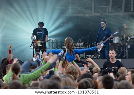 WROCLAW, POLAND - MAY 4: The Band Myslovitz during the concert  at the festival 3-majowka on May 4,2012 in Wroclaw, Poland. - stock photo