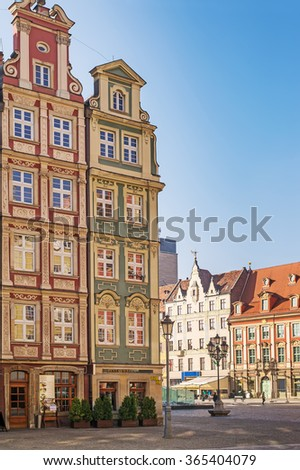 WROCLAW, POLAND - OCTOBER 25, 2015: Architectue of the Market square in Wroclaw, Poland. Wroclaw is the historical capital of Silesia and Lower Silesia