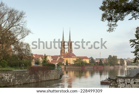 WROCLAW, POLAND - OCTOBER 24, 2014: Wroclaw, Ostrow Tumski, Poland. view from a bank of the Odra river.
