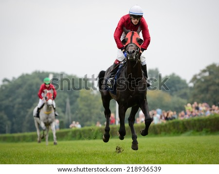 WROCLAW, POLAND - SEPTEMBER 21; 2014: A. Kabardov on horse Desert during the race for - three year old arabian horse in a Racecourse WTWK Partynice. - stock photo