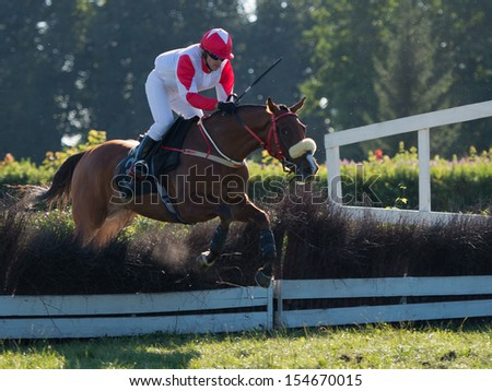 WROCLAW, POLAND - SEPTEMBER 7:  K. Brygier on a horse Golden Profession o during the international race Great Partynicka in a Racecourse WTWK Partynice on September 7,2013 in Wroclaw, Poland. - stock photo