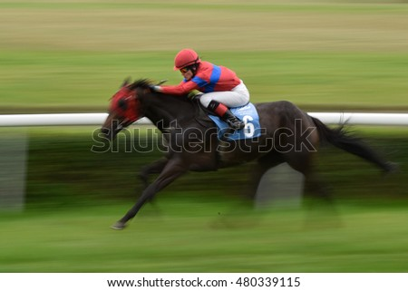 WROCLAW, POLAND - SEPTEMBER 4; 2016: Race for the 3-year and older horses Group IV Racecourse WTWK Partynice. In action K. Maryniak on the horse Tutejsza.