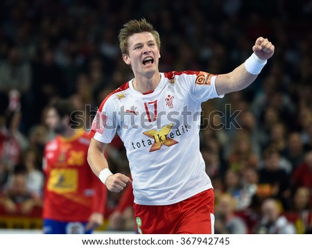 Wroclaw, Poland. 24th January, 2016. European Championships in Men's Handball, EHF EURO 2016 Group 2 match Spain vs Denmark 23:27. Svan Hansen Lasse after shotting goal.
