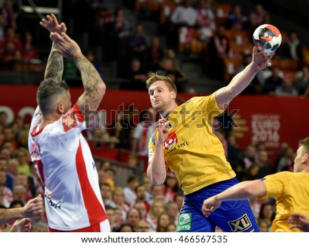 Wroclaw, Poland. 29th January, 2016. European Championships in Men's Handball, EHF EURO 2016 match for 7th place Poland vs Sweden 26:24. In action Linus Persson.