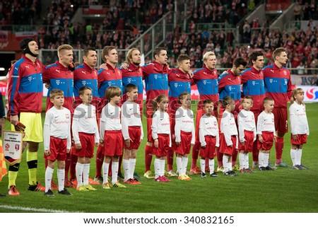 Wroclaw, Poland. 17th November, 2015. International Football friendly match: Poland v Czech Republic. Team of Czech before match. - stock photo