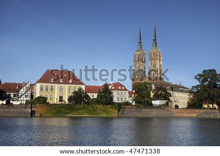 Wroclaw, Poland; view at Ostrow Tumski with the St. John the Baptist's cathedral.