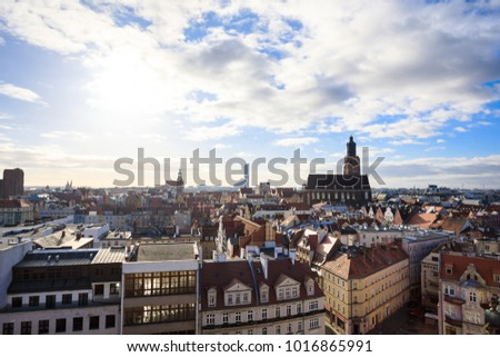 Wroclaw skyline at spring