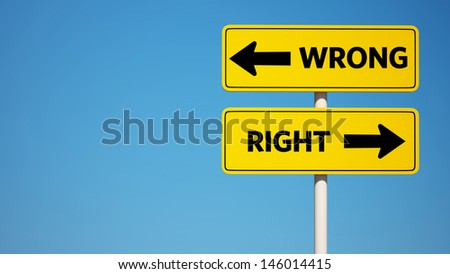 Wrong and Right Sign with Clipping Path  - stock photo