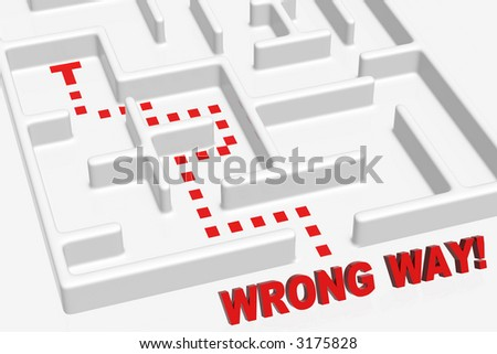 Wrong way in the maze - stock photo