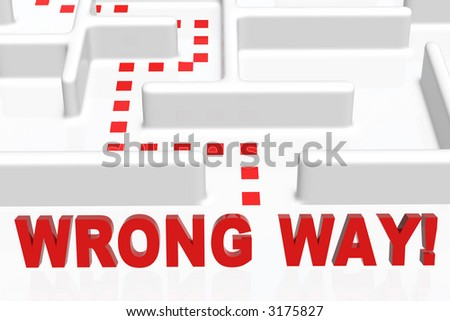 Wrong Way sign and a maze - stock photo