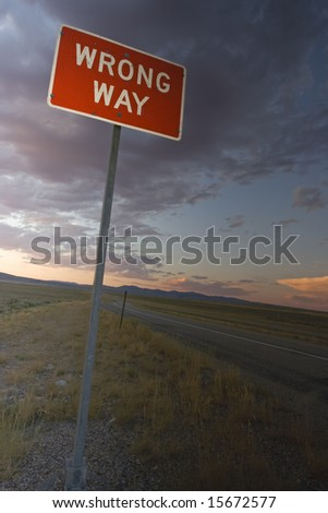 Wrong Way sign found in Idaho. - stock photo
