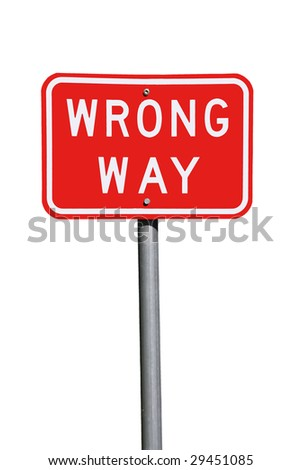 Wrong Way Traffic Sign - Current Australian Road Sign, isolated on white - stock photo