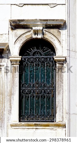 wrought iron ancient window detail in Murano, Venice, Italy - stock photo
