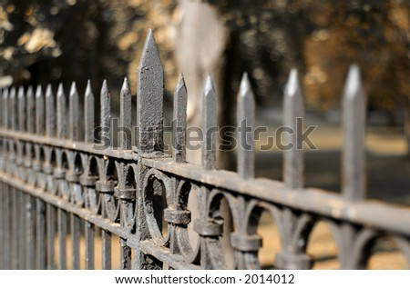 Wrought iron fence - stock photo