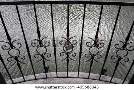 Wrought-iron fencing. 					 - stock photo