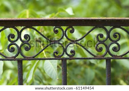 Wrought-iron gate - stock photo