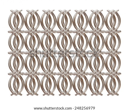Wrought iron gate and fence on isolated white background. - stock photo