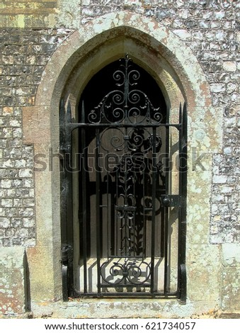 Wrought Iron Gate Front Church Door Stock Photo Royalty Free