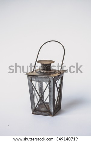 Wrought iron, lantern isolated in white