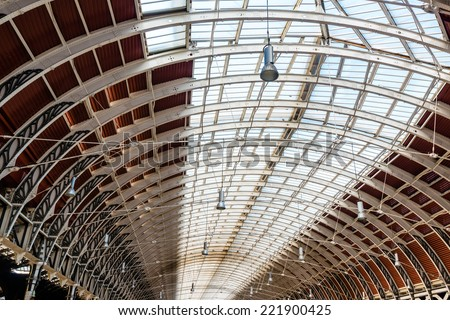 Wrought iron roof structure of Paddington railway station - stock photo
